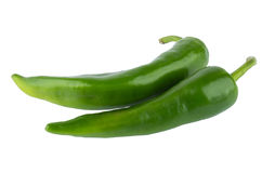 Two hot green peppers royalty free stock photo