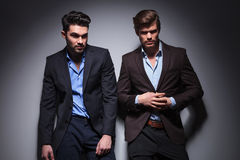 Two hot men, one looking away Royalty Free Stock Photos