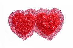 Two hot red hearts Stock Photo