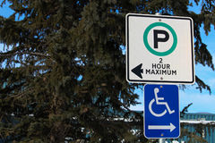 Two Hour and Handicap Parking Sign.  Stock Image