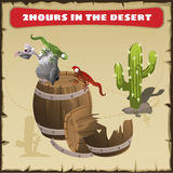 Two hours in the desert. A funny scene royalty free illustration