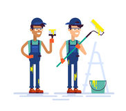 Two house painters holding brush and roller. Flat. Royalty Free Stock Image