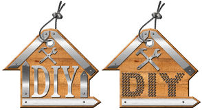 Two House Shaped Labels for Diy Store Royalty Free Stock Images