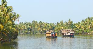 Two Houseboats in Backwaters in Kerala, India... This is a photograph of a backwater canal, captured from houseboat, at Kerala, India Stock Photography