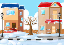 Two houses covered by the snow Stock Images