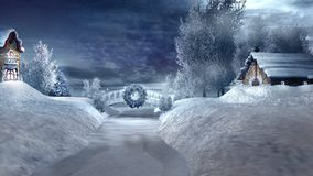 Two houses and frozen river. Winter scenery with two old houses and frozen river Royalty Free Stock Image