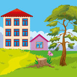 Two Houses On Hill. Vector illustration of two houses on a hill near the pine stock illustration