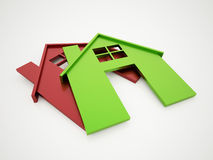 Two houses icon green and red Stock Images