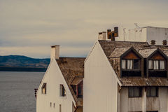 Two houses on a lake shore Royalty Free Stock Photo