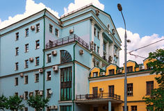 Two houses with a lot of air conditioners on the facades. Moscow, Russia Royalty Free Stock Image