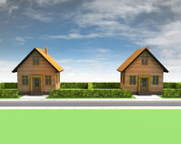 Two houses in neighborhood with blue sky Royalty Free Stock Photos
