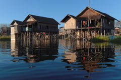 Two houses on piles of Inle Lake Stock Photos