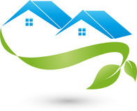Two houses, roofs and plant, real estate and eco houses logo Royalty Free Stock Photography