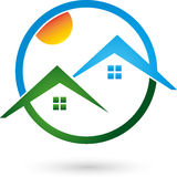 Two houses, roofs, real estate logo Stock Image