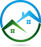 Two houses, roofs, real estate logo Stock Photography