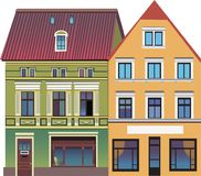 Two houses on the street. An illustration is made in a vector. Can be used in the book and on the site royalty free illustration