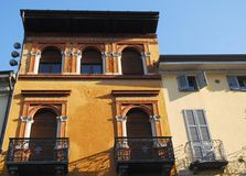 Two houses in victory square next to the cathedral in the city of Lodi in Lombardy (Italy) Royalty Free Stock Images