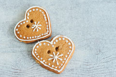Two сhristmas gingerbread heart Stock Photography