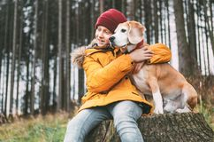 Two huging best friends portrait - boy and his beagle dog sit on. The tree stump in the autumn forest royalty free stock images
