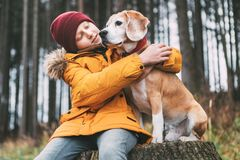Two huging best friends portrait - boy and his beagle dog sit on. The tree stump in the autumn pine forest royalty free stock photos