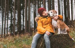 Two huging best friends portrait - boy and his beagle dog sit on. The tree stump in the autumn pine forest. Human and pets concept image stock photo