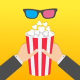 Two human businessman hands holding big popcorn box. 3D red blue glasses. Movie Cinema icon. Pop corn. Fast food. Yellow gradient. Background. Flat design Royalty Free Stock Photo
