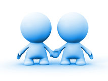 Two human characters in blue holding hands Stock Photography