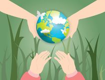 Two human hands holding globe and girl hand waiting for the globe with world map of clouds background. Concept earth day Stock Images