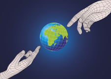 Two human hands pointing to planet earth Stock Images