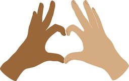 Two human hands show symbol in the form of heart folded fingers Royalty Free Stock Images