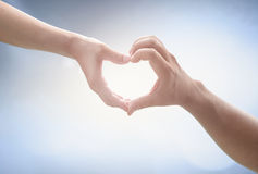 Two human hands sign Stock Photo