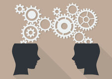 Two human head thinking a new idea. Flat design with long shadow Stock Photo