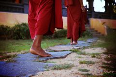 Two Human Wearing Monk Dress Walking on the Pathway Stock Images