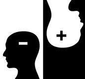 Two humans profiles of white and black colors Royalty Free Stock Image