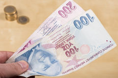Two hundered Turkish Liras Stock Images