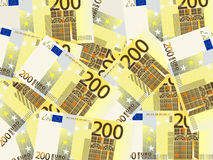 Two hundred euro background. Background from a two hundred euro banknotes Stock Image