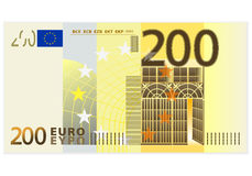 Two hundred euro banknote. On a white background stock illustration