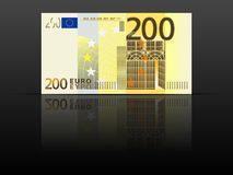 Two hundred euro banknote. On a black background vector illustration