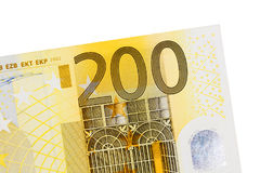 Two hundred euro banknote isolated on white background. High resolution photo Royalty Free Stock Photography