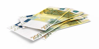 Two hundred euro banknotes. 3d render Two hundred euro banknotes close-up ( on white and clipping path Stock Photo