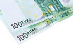 Two hundred euro banknotes isolated. Oo white background Royalty Free Stock Image