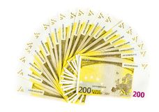 Two hundred euro bills isolated on white background. banknotes c. Two hundred euro banknotes isolated on white background. banknotes cash wallpaper Stock Images