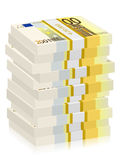 Two hundred euro banknotes stacks. Hundreds euro banknotes stacks on a white background Royalty Free Stock Image
