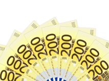 Two hundred euro banknotes. On a white background Stock Photos