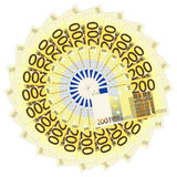 Two hundred euro banknotes. On a white background Royalty Free Stock Image