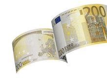 Two hundred euro bill colage isolated on white Royalty Free Stock Photography