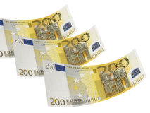 Two hundred euro bill collage isolated on white. Two hundred euro bill isolated on white. Horizontal format Royalty Free Stock Image