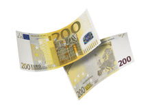 Two hundred euro bill collage isolated on white Royalty Free Stock Photos