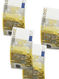 Two hundred euro bill collage isolated on white Royalty Free Stock Photo