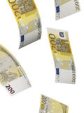 Two hundred euro bill collage isolated on white. Two hundred euro bill isolated on white. Vertical format Stock Photo